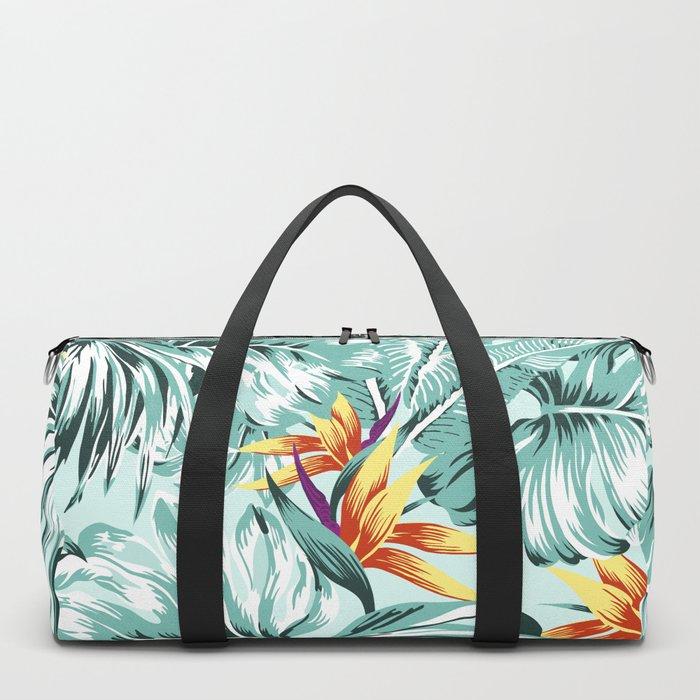 Bird of Paradise Greenery Aloha Hawaiian Prints Tropical Leaves Floral Pattern Duffle Bag