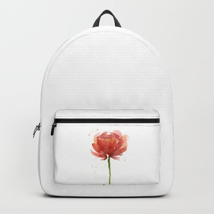 Red Flower Watercolor Floral Painting Backpack