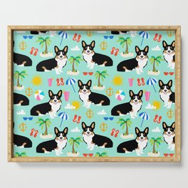 Tricolored Corgi Beach Day - cute tri corgi beach summer sun pattern Serving Tray
