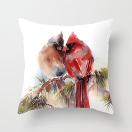 Cardinal Birds Couple Throw Pillow