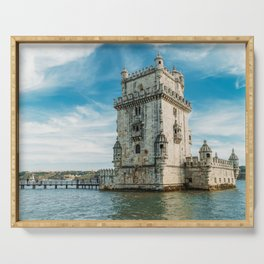 Belem Tower of Saint Vincent In Lisbon, Wall Art Print, Historic Architecture Art, Poster Decor Serving Tray
