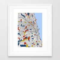 mondrian Framed Art Prints featuring Chicago Mondrian by Mondrian Maps