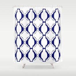 ethno blocks, FOLK BLUE Shower Curtain