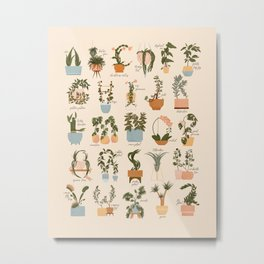 House Plant Alphabet Metal Print
