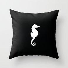 Seahorse black Throw Pillow
