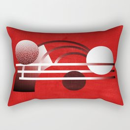 Mid Century Modern Abstract // Red, Black and White // Watercolor Texture Rectangular Pillow