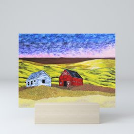 Life on the American Plains by Mike Kraus - art great yellow blue female woman figure landscape sun Mini Art Print