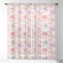 Rainy Day on Pink Sheer Curtain