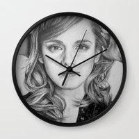 emma watson Wall Clocks featuring Emma Watson by Lindsay Hall