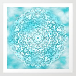 Blue Sky Mandala in Turquoise Blue and White Art Print
