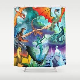 Wings of fire all dragon bg Shower Curtain