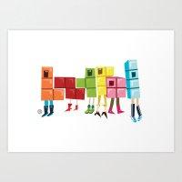 tetris Art Prints featuring Tetris by Sarit Evrani
