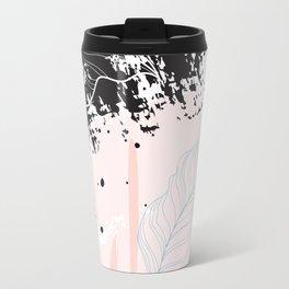 Exotic leaves on grunge background Travel Mug