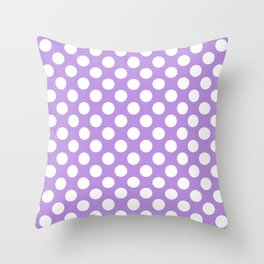 Polka Dots, Spots (Dotted Pattern) - Purple White Throw Pillow