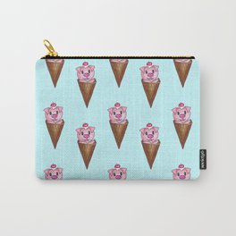 Cute Watercolor Piggy Ice Cream Pink Teal Pattern Carry-All Pouch