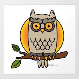 Owl in a Circle Art Print