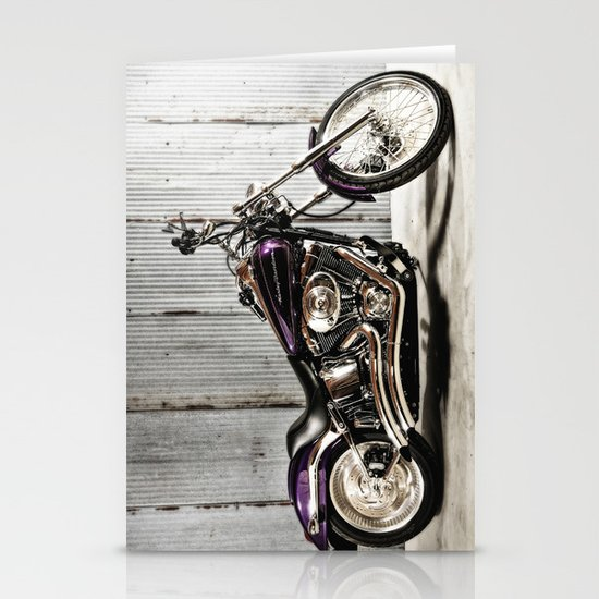 Purple Harley Softail Stationery Cards