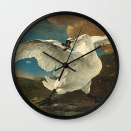 The Threatened Swan by Jan Asselijn Wall Clock