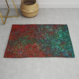 Abstract artwork in red and deep green Rug