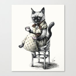 Portrait of Lady Cat Canvas Print