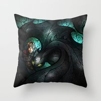 mandie manzano Throw Pillows featuring The Alpha by Mandie Manzano