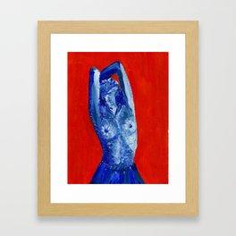 blue girl in blue skirt Framed Art Print