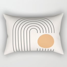 Geometric Lines in Gold and Black 9 (Rainbow and Sun) Rectangular Pillow