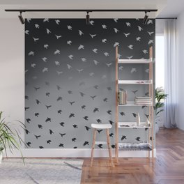 Crows Flying Ombre Pewter Blue Grey Wall Mural
