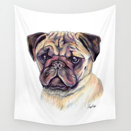 Pug - Dog Portrait Wall Tapestry