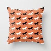 unicorns Throw Pillows featuring Unicorns by Fabian Bross