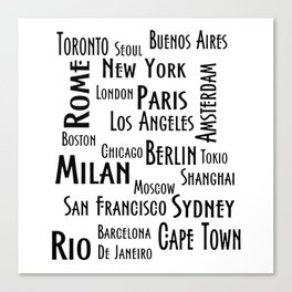 New York, Los Angeles and others city . Fashion Chic Home Decor Graphicdesign Canvas Print
