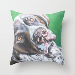 GSP German Shorthaired Pointer dog portrait art from an original painting by L.A.Shepard Throw Pillow