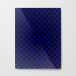 Black and Navy Blue Checkerboard Metal Print