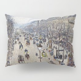 Camille Pissarro - Boulevard Montmartre, Morning, Cloudy Weather Pillow Sham