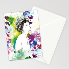 Bella fashion watercolor portrait Stationery Cards