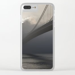 Bridge hidden in the fog at sunrise Clear iPhone Case