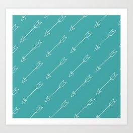 Blue Arrow Pattern Art Print
