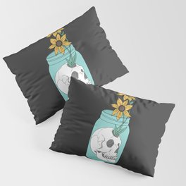 Skull in Jar with Flowers Pillow Sham