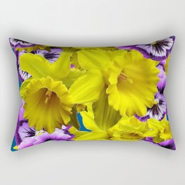YELLOW SPRING DAFFODILS & LILAC PANSIES BLUE COLOR Rectangular Pillow