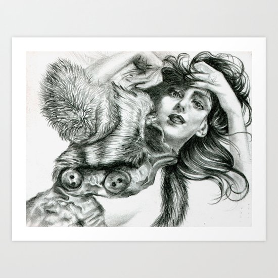 Lady In Fur Art Print