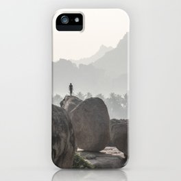 A Silhouette in the Monochromatic Boulders of India iPhone Case