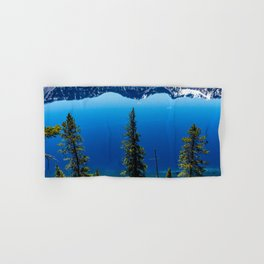 Three Tree View // Crater Lake National Park Oregon Deep Blue Peaceful Water and Mountain Landscape Hand & Bath Towel