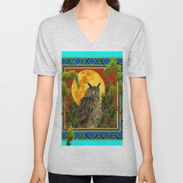 WILDERNESS OWL WITH FULL MOON & TREES TURQUOISE Unisex V-Neck