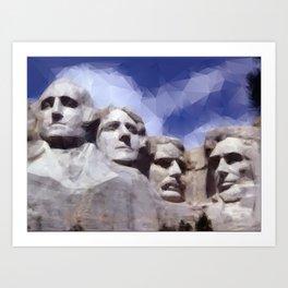 Mount Rushmore in Triangles Art Print