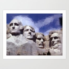 Mount Rushmore in Triangles Art Print