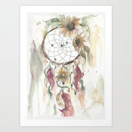 Dream catcher in earthy tones Art Print