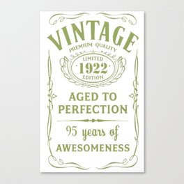 Green-Vintage-Limited-1922-Edition---95th-Birthday-Gift Canvas Print