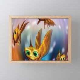Three little fishies and a mama fishie too Framed Mini Art Print