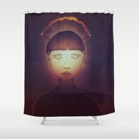 radio Shower Curtains featuring Radio Girl by IOSQ