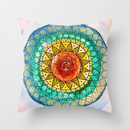 OM - Chakra Mandala - Rainbow - Charm Throw Pillow